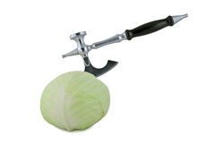 Cabbage with axe Stock Image