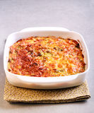 Cabbage and bacon bake in tin Stock Image