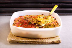 Cabbage and bacon bake in tin Stock Images