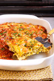 Cabbage and bacon bake in tin Stock Photo