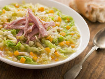 Cabbage and Bacon Soup with Rustic Bread Stock Photography
