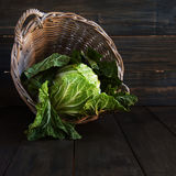 Cabbage in a basket, rustic Royalty Free Stock Image