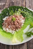 Cabbage with beef and rice Royalty Free Stock Photos