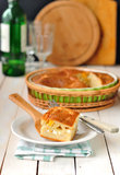 Cabbage and Boiled Egg Filled Pie Stock Photo