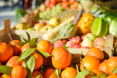 Cabbage Bok Choy among fruit and vegetables at farmers market Stock Photo