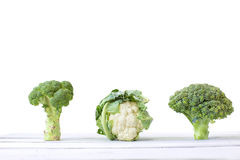 Cabbage, broccoli, and cauliflower. On a white background Stock Photo