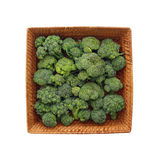 Cabbage - Broccoli - in a square wicker plate. Isolated object Royalty Free Stock Photography