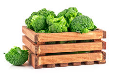 Cabbage broccoli in wooden box Stock Photography