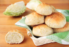 Cabbage buns in small basket Stock Photography