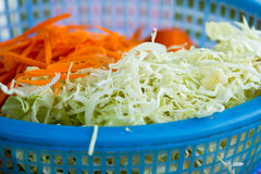 Cabbage and Carrot  cut. Cabbage and Carrot cut in Basket Stock Image