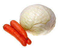 Cabbage and carrot (isolated). Cabbage and carrot isolated on white background Royalty Free Stock Photos
