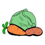 Cabbage, carrot, potatoe icon cartoon Stock Photos