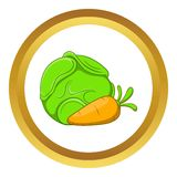 Cabbage and carrots vector icon Stock Images