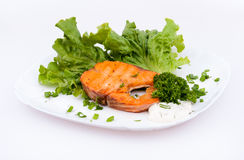 Salmon with lettuce. On the white plate Royalty Free Stock Photos