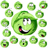 Cabbage cartoon. With many expressions royalty free illustration