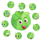 Cabbage cartoon with many expressions Stock Photos