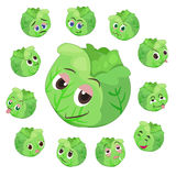 Cabbage cartoon with many expressions Royalty Free Stock Photos