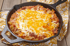Cabbage casserole with beef, rice and cheese Stock Photo