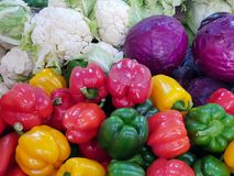 cabbage, cauliflower, Chinese cabbage and bell pepper stock photo