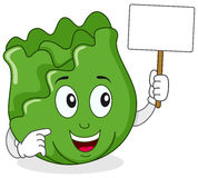 Cabbage Character Holding Blank Banner Stock Image
