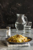 Cabbage with chicken and mushrooms Stock Photos