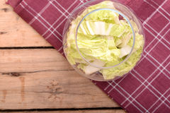 Cabbage chopped in glass bowl Stock Photography