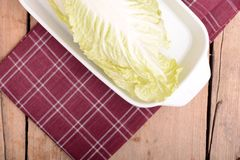 Cabbage chopped in glass bowl Stock Photos