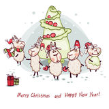 Cabbage of a Christmas tree. New Year's card 2015 cabbage in the form of a Christmas tree with goat and ram Royalty Free Stock Image