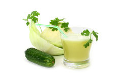 Cabbage and cucumber juice Royalty Free Stock Image