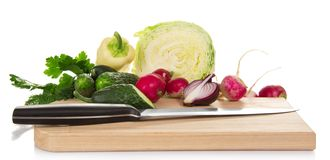 Cabbage, cucumbers,pepper, radish, onions and Royalty Free Stock Images