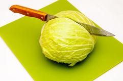 Cabbage cut kitchen vegetarian meal Royalty Free Stock Photos