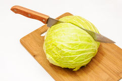 Cabbage cut knife Royalty Free Stock Photos
