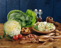 Cabbage,diced bacon,croutons and walnut salad Royalty Free Stock Images