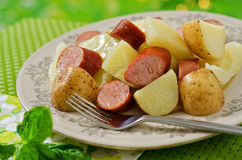 Cabbage Dinner with Smoked Sausage and Potato Royalty Free Stock Photo