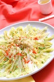 Cabbage dishes. Cabbage fine cuisineon the red, traditional Chinese meal,Healthy vegetarian royalty free stock photo