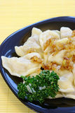 Cabbage dumplings with fried onion Royalty Free Stock Photos
