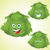Cabbage face expression cartoon character set Royalty Free Stock Photography