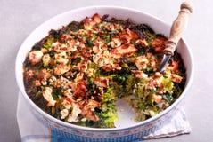 Cabbage, feta and ham bake Stock Photography