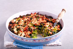 Cabbage, feta and ham bake Stock Images