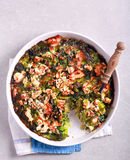 Cabbage, feta and ham bake in a tin Royalty Free Stock Photography