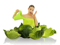 Cabbage girl royalty free stock photos