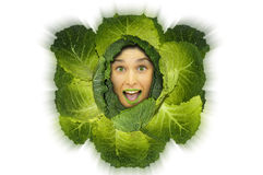 Cabbage girl Royalty Free Stock Images