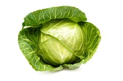 Cabbage isolated on a white background.und. Stock Photos