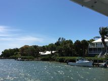 Cabbage Key by Boat Florida West Coast. Having Lunch at the Inn Stock Image