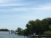 Cabbage Key by Boat Florida West Coast. Having Lunch at the Inn royalty free stock photo