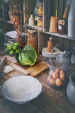 Cabbage and kitchen decoration Royalty Free Stock Images