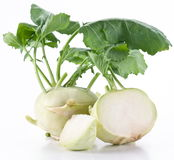 Cabbage kohlrabi on a white Royalty Free Stock Images