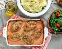 Cabbage and meat balls in tomato sauce Royalty Free Stock Photography