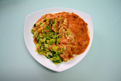 Cabbage and Minced Meat Dish. A dish with minced meat, mashed potatoes and cabbage half mixed Royalty Free Stock Photo