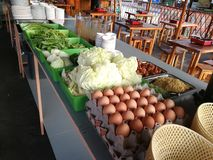 Cabbage, morning glory, celery, vegetable ,noodle, eggs and meal in buffet line food. At Thailand Stock Photo